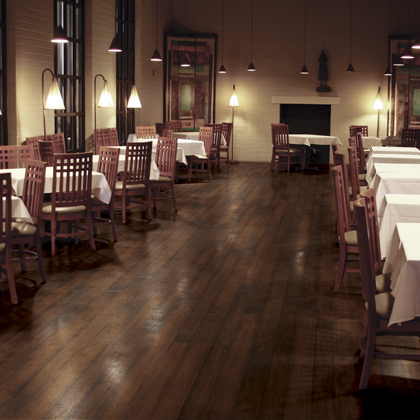 a long room in a restaurant with polished hardwood floors